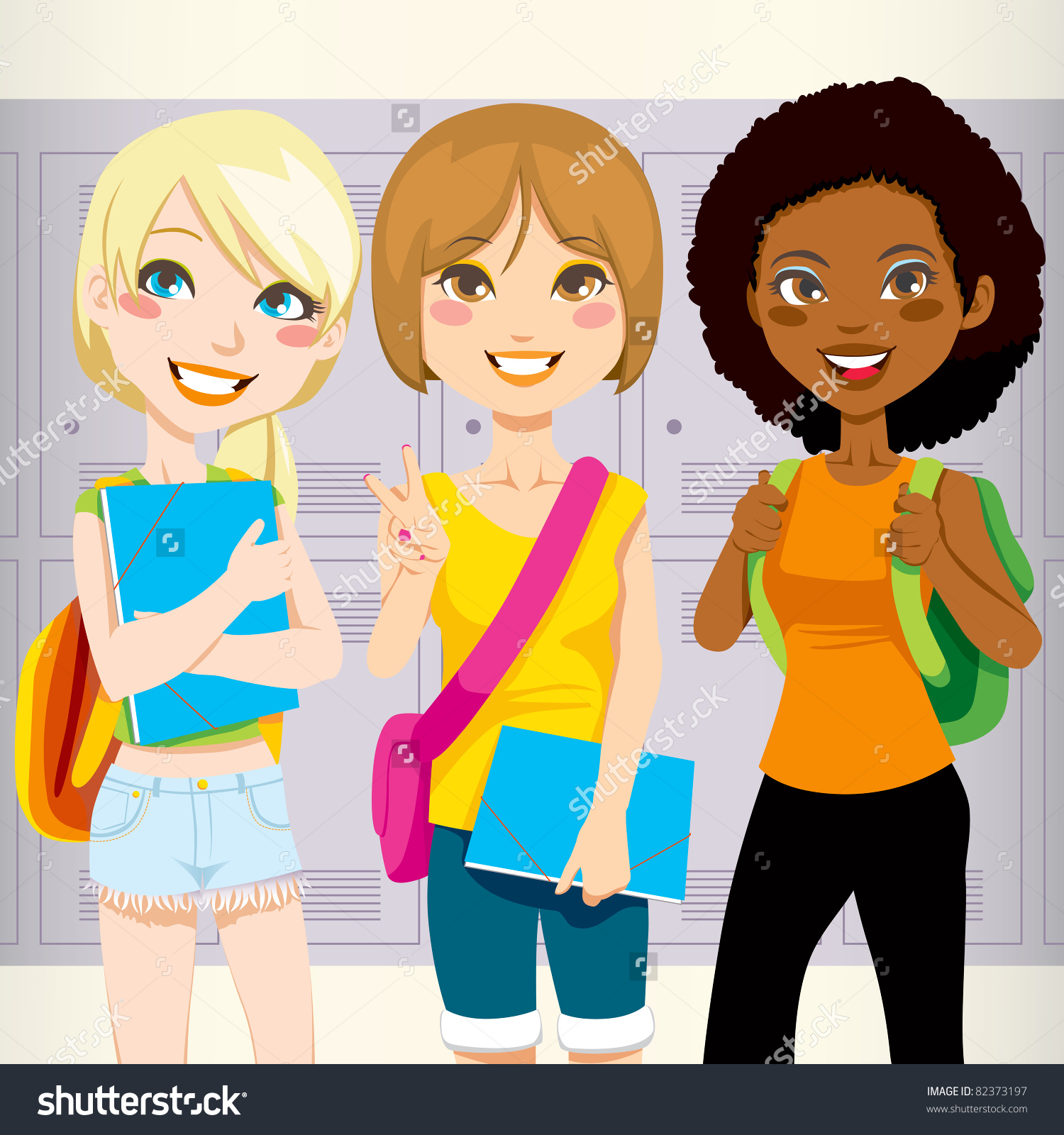 Happy Teenagers Clipart.