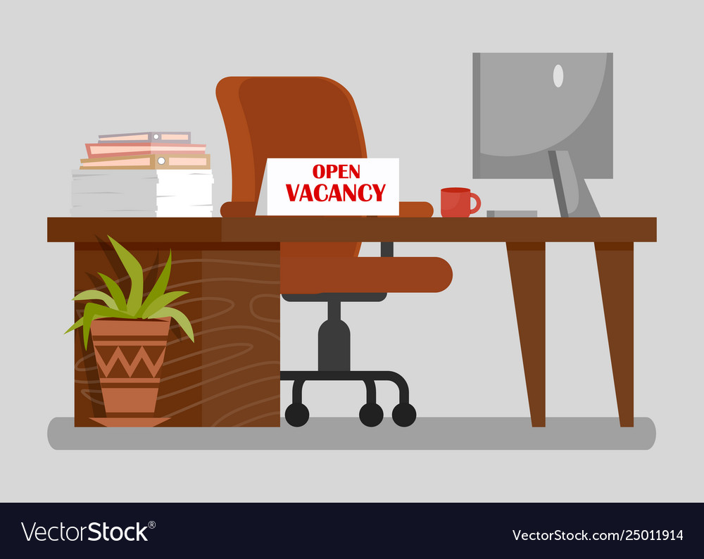 Office workplace with open vacancy sign clipart.