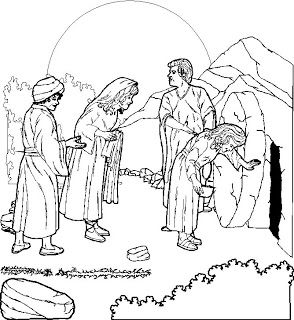 Coloring Page Of Empty Tomb Of Jesus After Resurrection Of Christ.