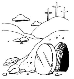 Easter Coloring Page for Children: Picture of the empty tomb of.