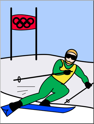 Clip Art: Winter Olympics: Skiing Color I abcteach.com.