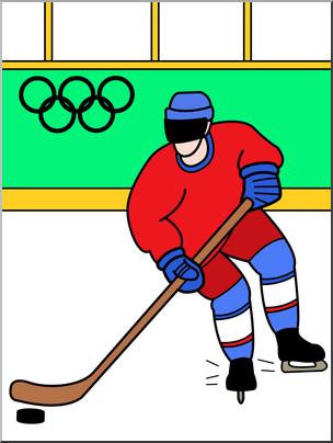 Clip Art: Winter Olympics: Ice Hockey Color I abcteach.com.