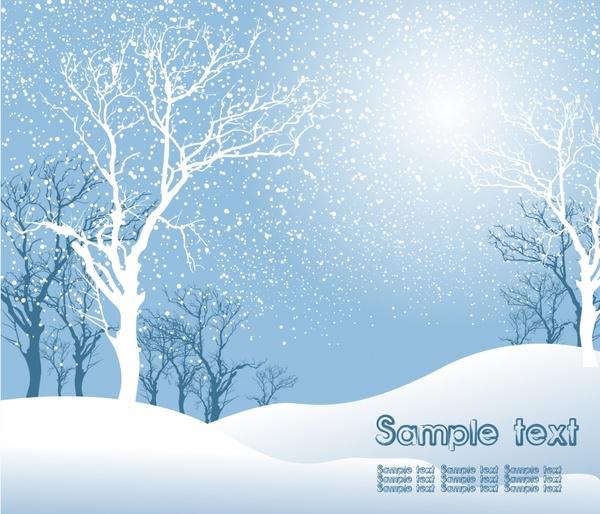 Winter scene background bright design treess snow decor Free.
