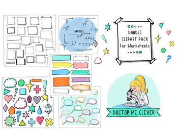 Doodle Clipart Pack for Decorating Worksheets/Flashcards.