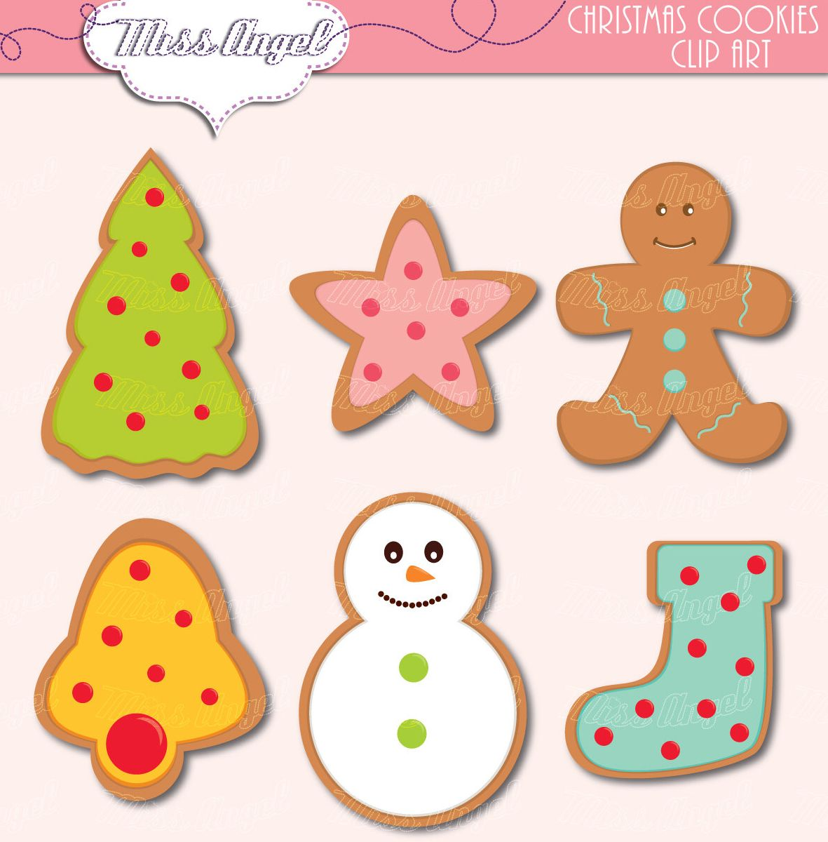 Cute ginger cookies clipart. Christmas Cookies clip art.
