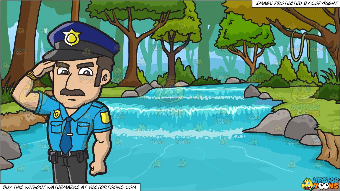 A Police Officer Salutes A Higher Authority and River Running Through A  Forest Background.