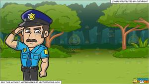 A Police Officer Salutes A Higher Authority and A Lush Green Forest  Background.