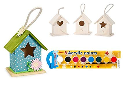 Amazon.com: Kid\'s DIY Wooden Bird Houses (Pack of 3 Assorted.