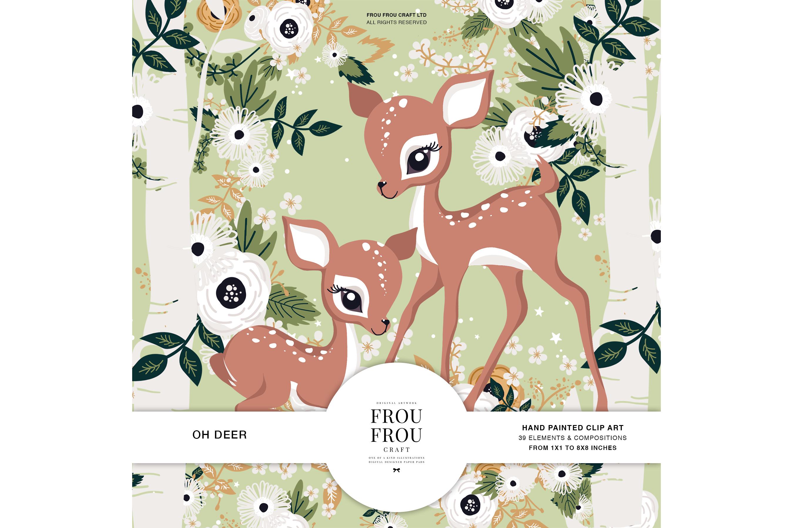 Deer Forest Animal Floral Nature Clip Art.