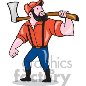 paul bunyan holding an axe clipart. Royalty.