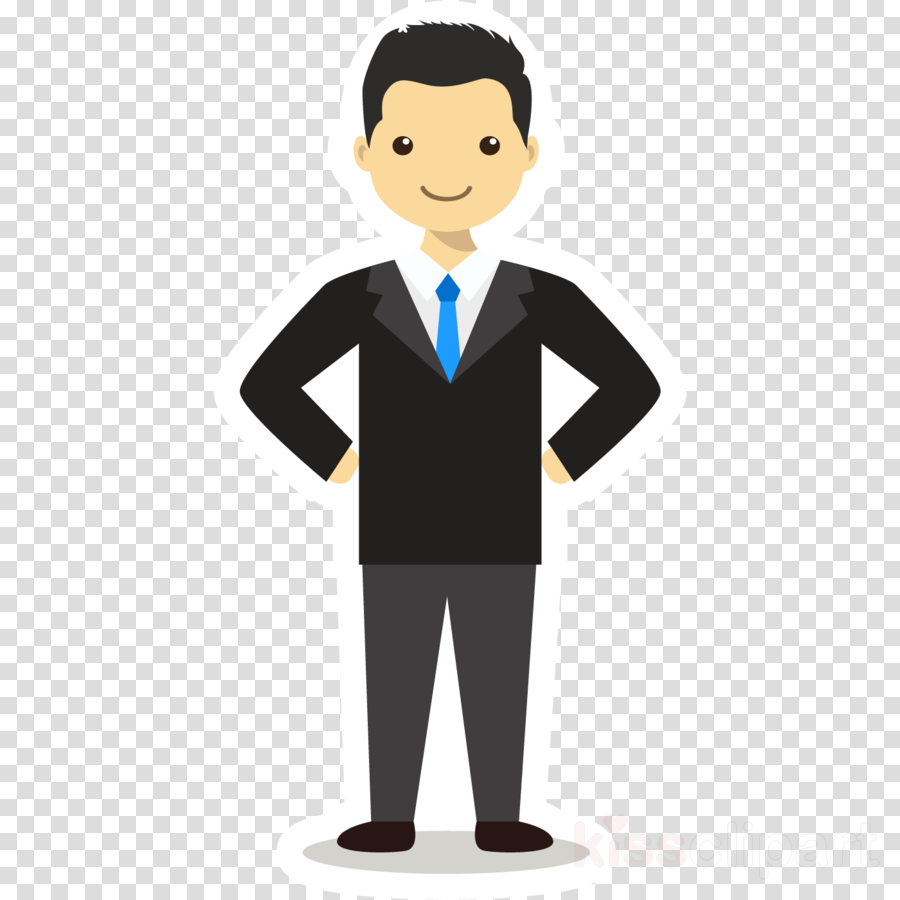 cartoon formal wear male suit standing clipart.