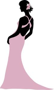 Formal Dress Silhouette Clip Art.