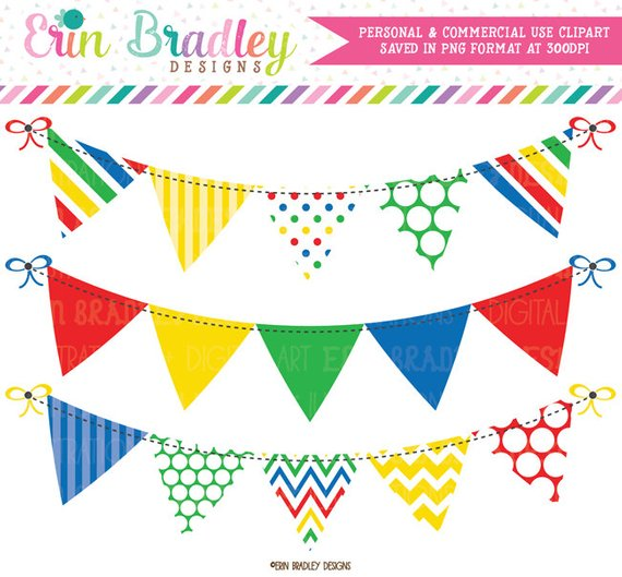Primary Colors Bunting Clipart Graphics Instant Download.