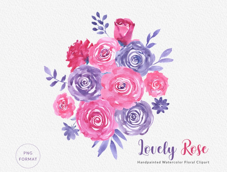 Lovely Rose Watercolor Floral Clipart by GoGivo on Dribbble.