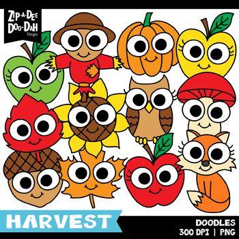 Doodle Fall Harvest Clipart Set {Zip.