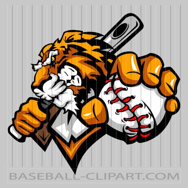 Tiger Baseball Clip Art Image. Easy to Edit Vector Format..
