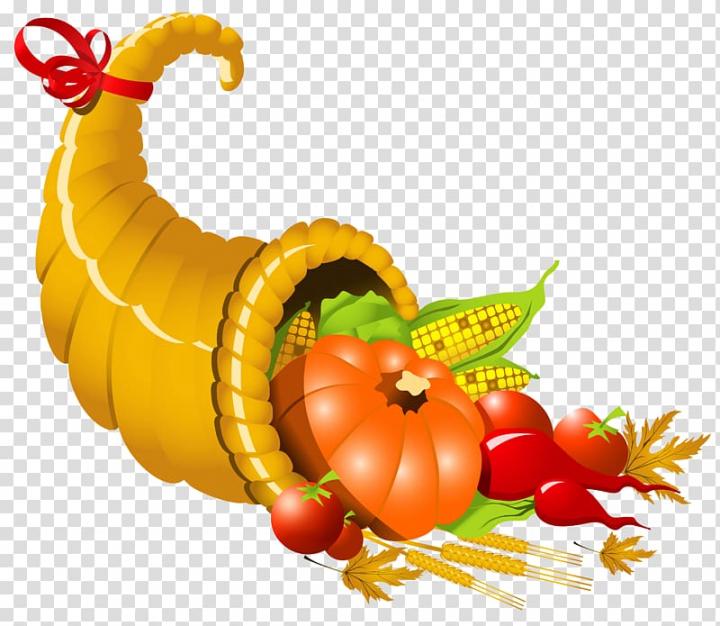 Pumpkin, corn, and tomatoes illustration, Cornucopia Wiki.