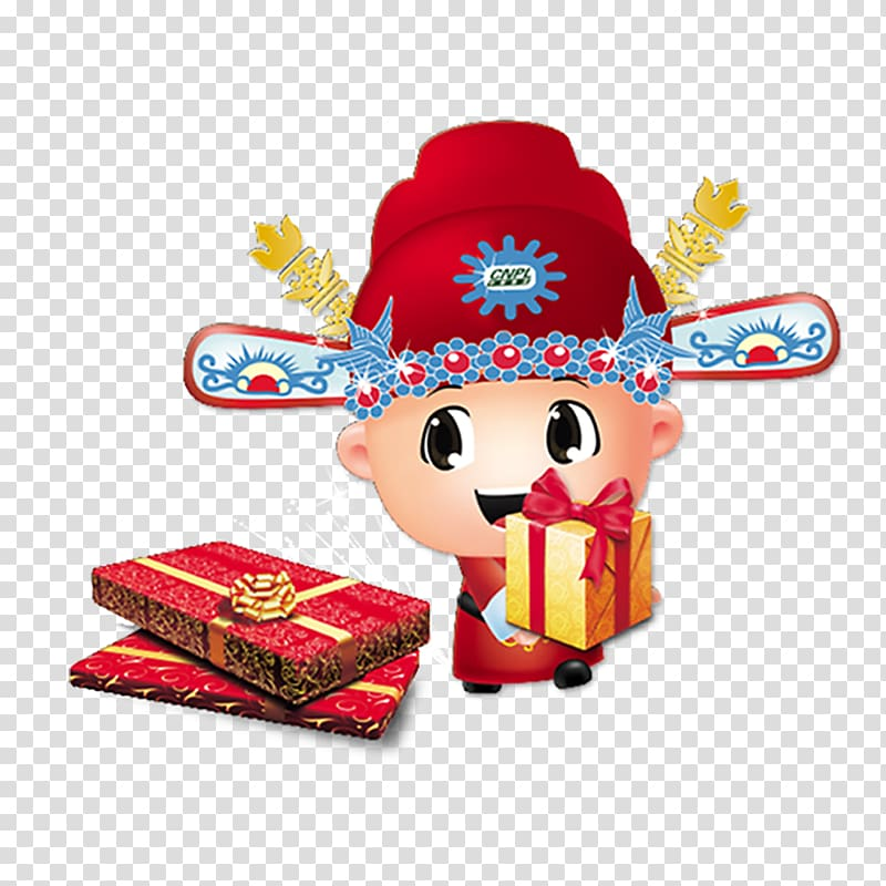 Caishen Cartoon Chinese New Year Illustration, Big eyes cute.