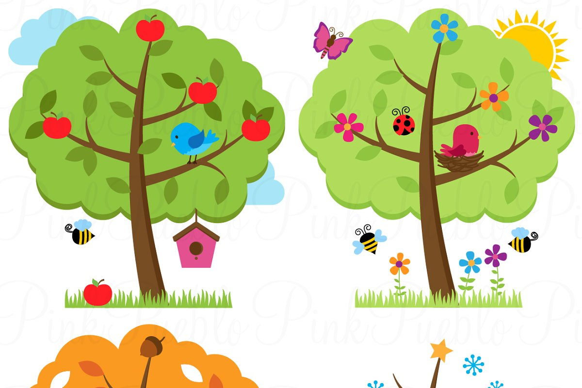 Four Seasons Trees Clipart & Vectors.