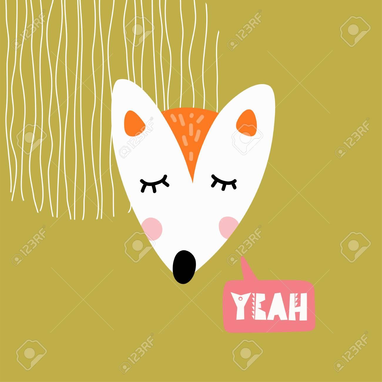 Cute fox head vector illustration. Design element, clipart for...