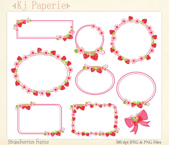 frames Clip Art, Strawberry frame,girl frames Clip art.