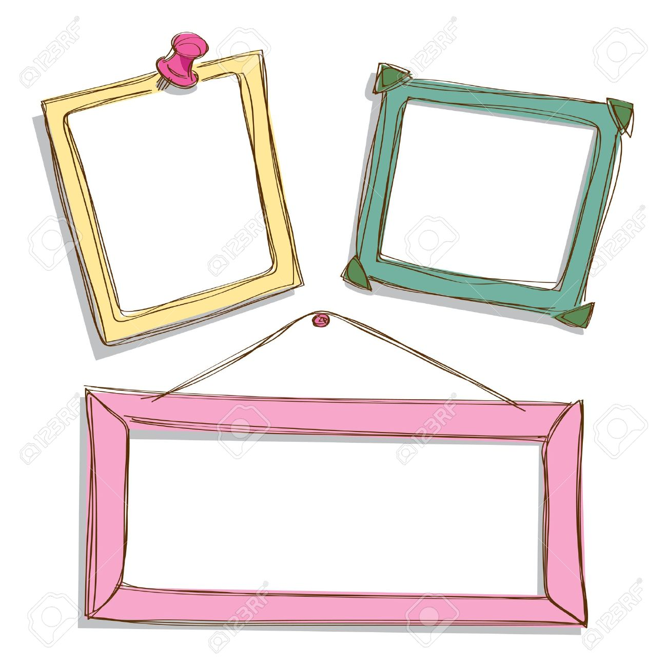 Set Of Cute Frame Doodle Royalty Free Cliparts, Vectors, And Stock.