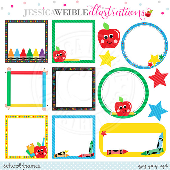 School Frames Cute Digital Clipart for Commercial or Personal.