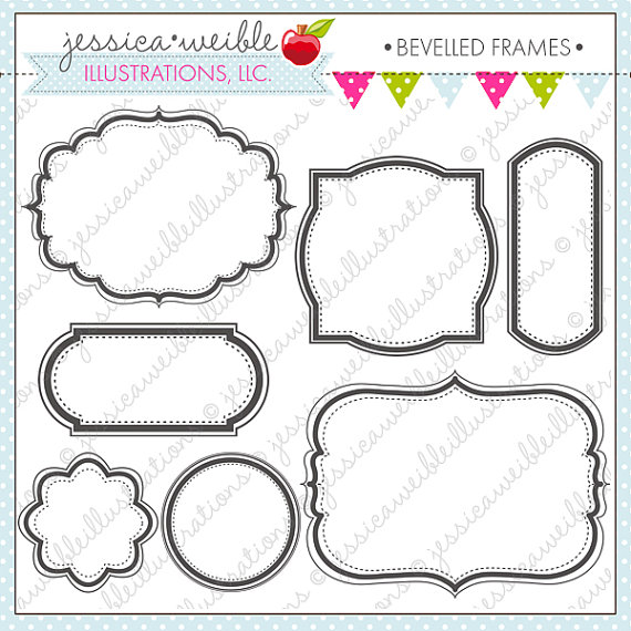 Beveled Frames Cute Digital Clipart for Commercial and.