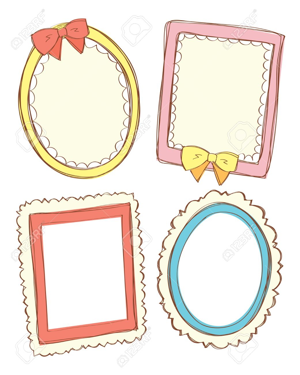Set Of Cute Frame Royalty Free Cliparts, Vectors, And Stock.