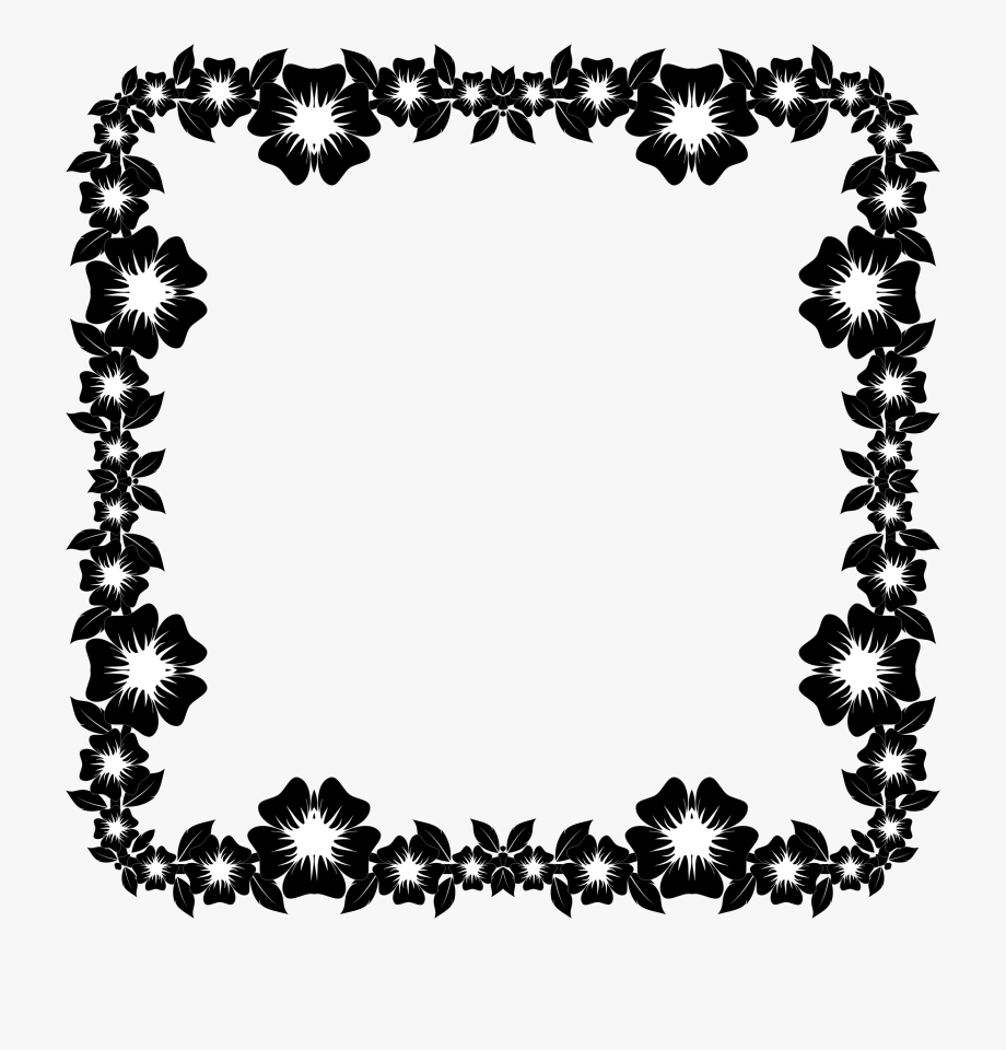 Flower Frame Graphic Transpa Stock Black And White.
