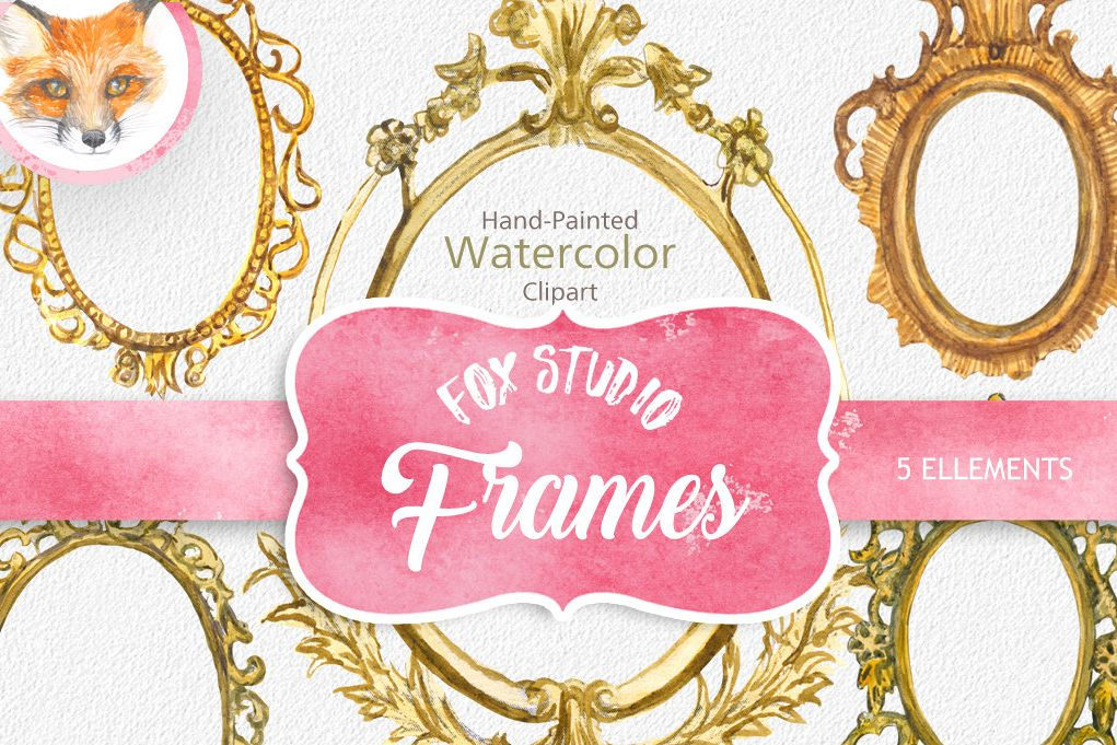 ON SALE, Hand Painted Golden Watercolor Frames Clipart.