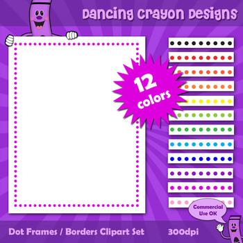 Borders and Frames: Dot Border / Frame Clip Art Set.