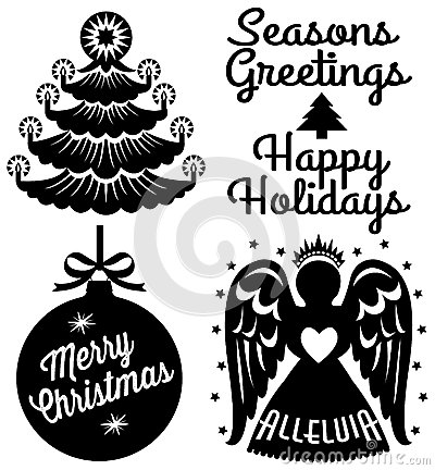 Set Of Christmas Stencils Stock Vector.
