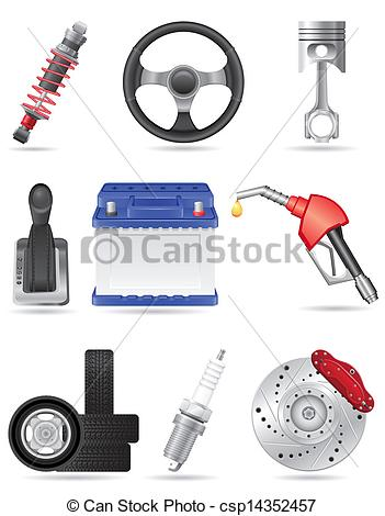 Clipart Vector of set icons of car parts vector illustration.