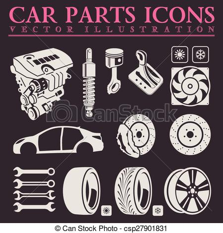 Vector Illustration of Car parts, tools and accessories. Set of.