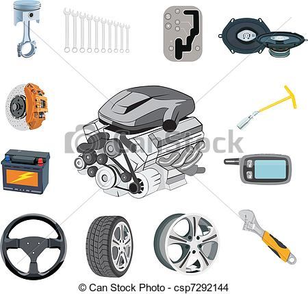 EPS Vector of Auto parts set in vector on a white csp7292144.