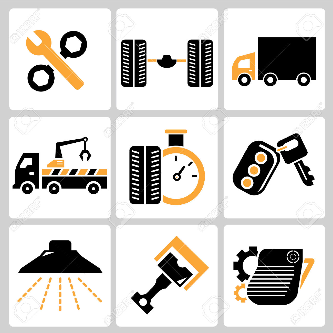 Garage Icons, Auto Service Icons, Car Parts Royalty Free Cliparts.