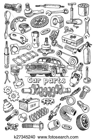 Clipart of Car parts in freehand drawing style k27345240.