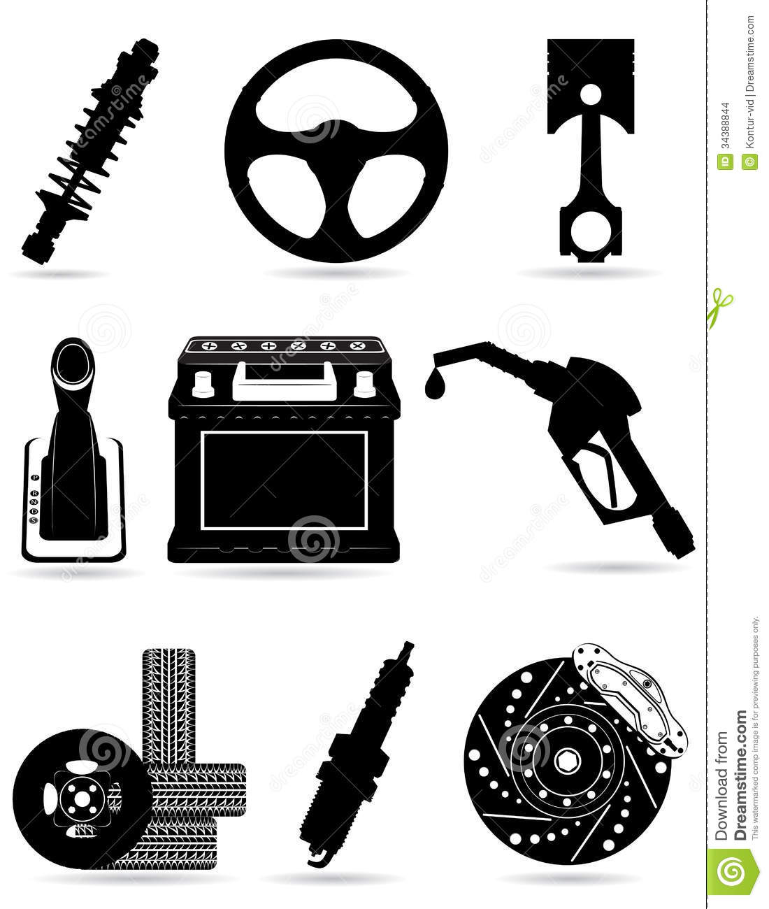 Set Icons Of Car Parts Black Silhouette Vector Ill Stock Images.