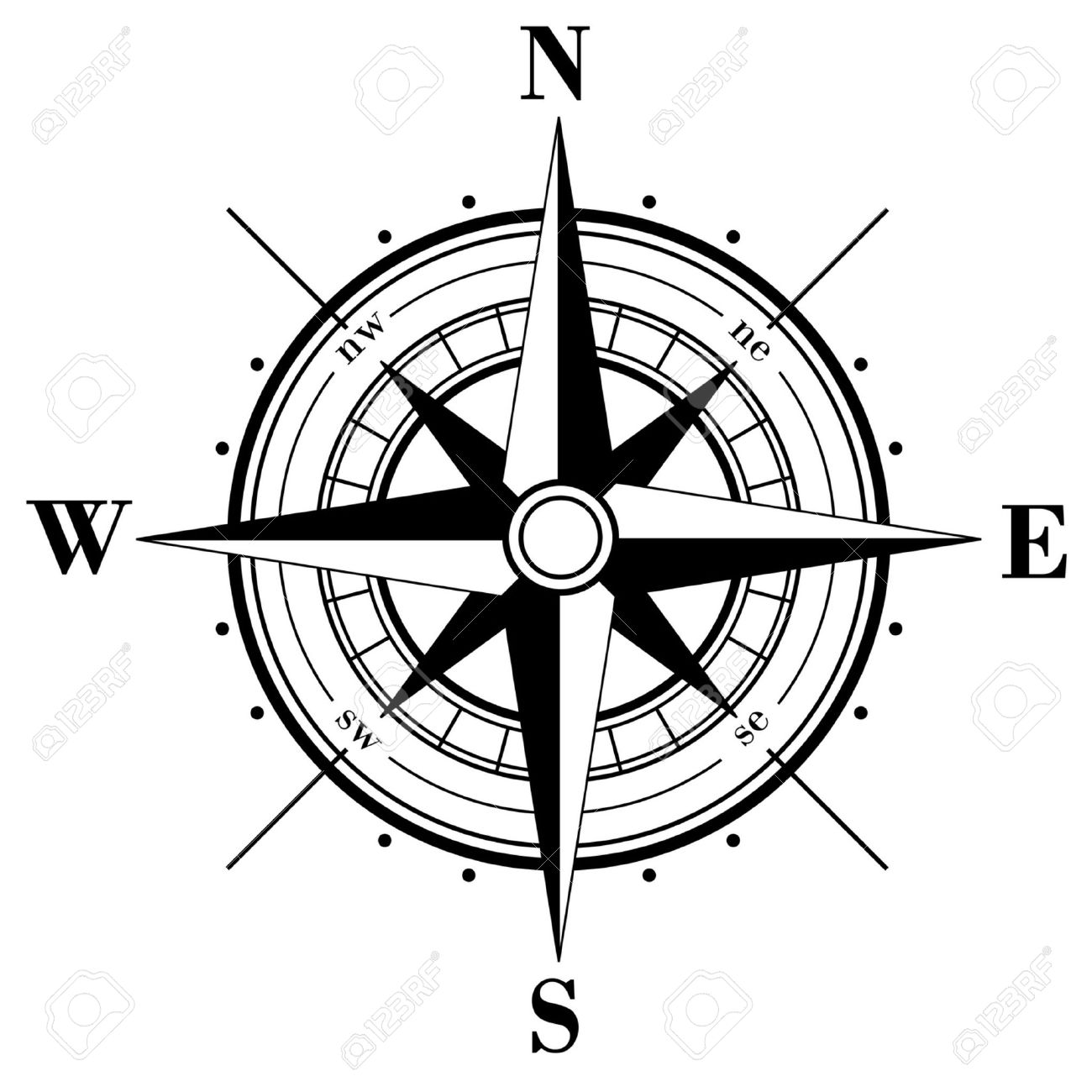 Compass Rose Clipart Black And White.