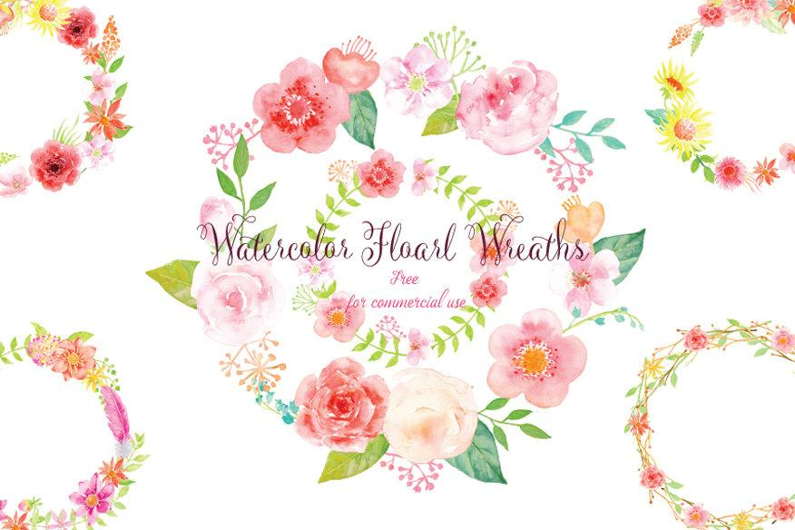 Pink Floral Wreaths for instant download, watercolor clipart, wreath  printable, free commercial use.