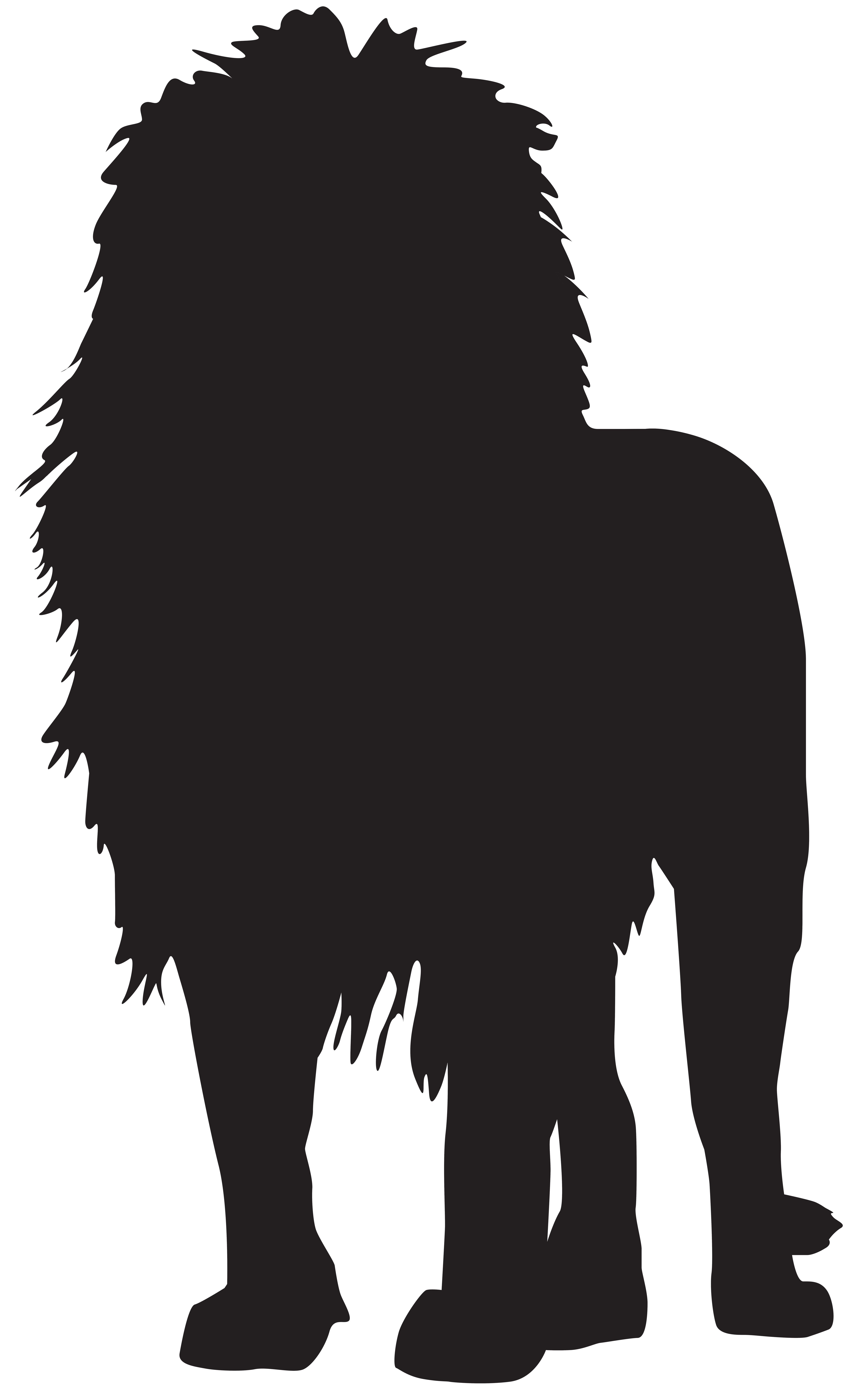 Lion Silhouette PNG Transparent Clip Art Image.