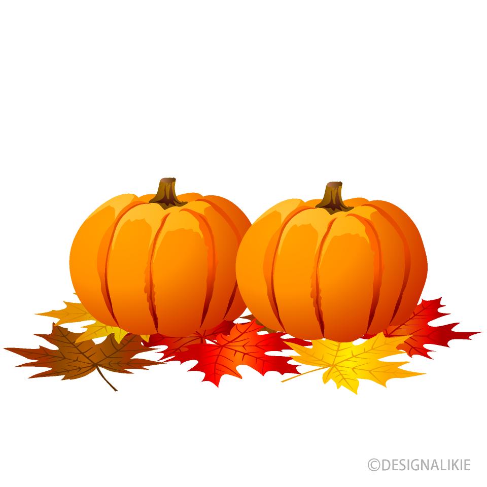 Free Pumpkins and Autumn Leaves Clipart Image|Illustoon.