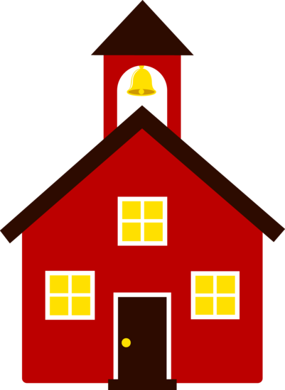 Free clip art of an old fashioned little red school house.