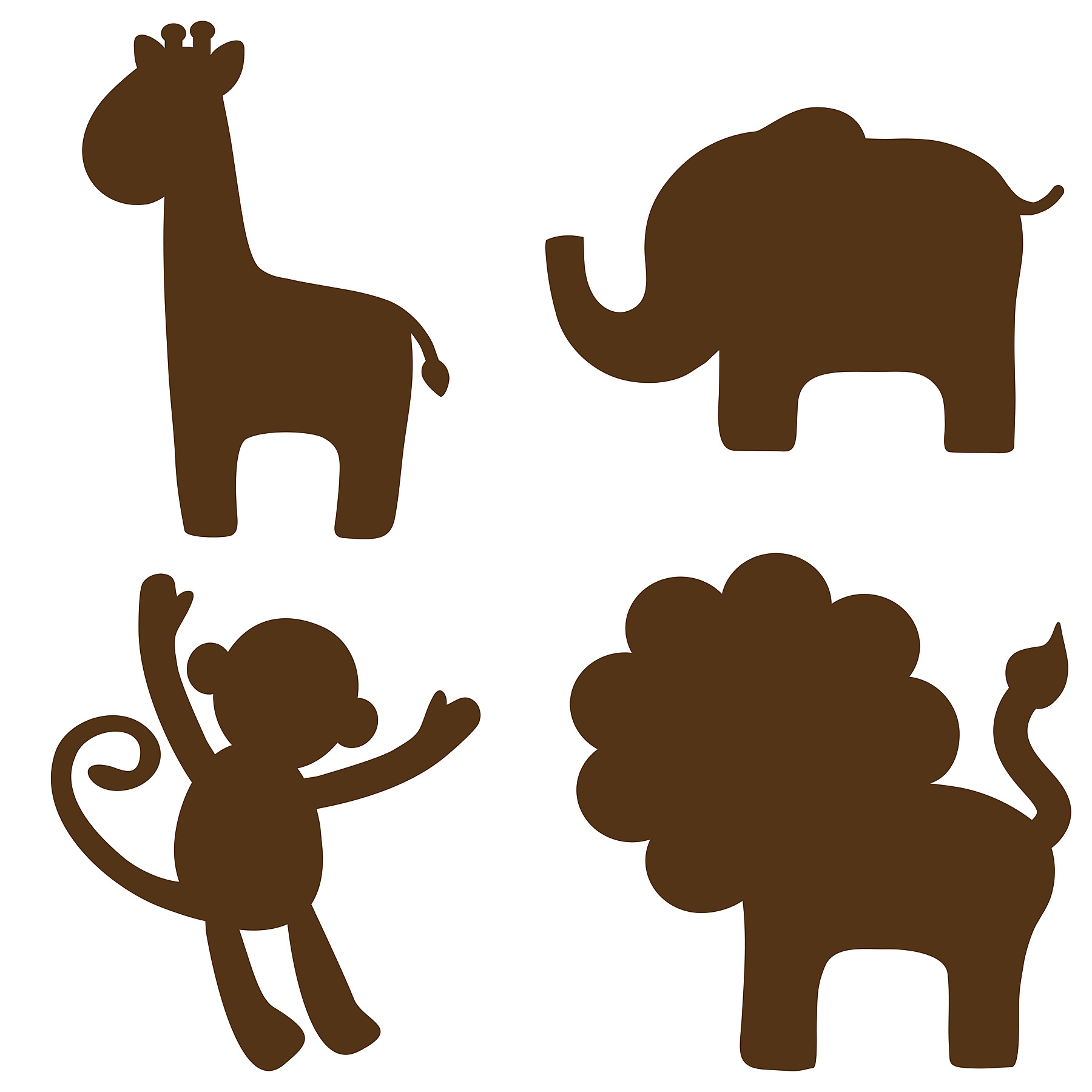 Wall Pops Espresso Brown Jungle Silhouettes Decals.
