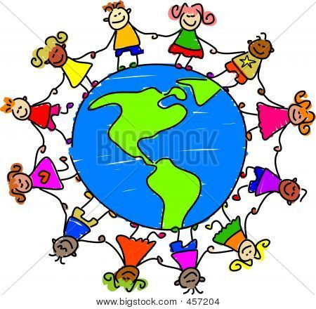 Image Children Holding Hands Around Earth Images, Stock Photos.