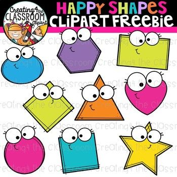 Happy Shapes Clipart Freebie {Clipart Freebie}.