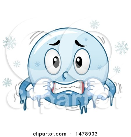Clipart of a Cold Blue Smiley Face Emoji Freezing.