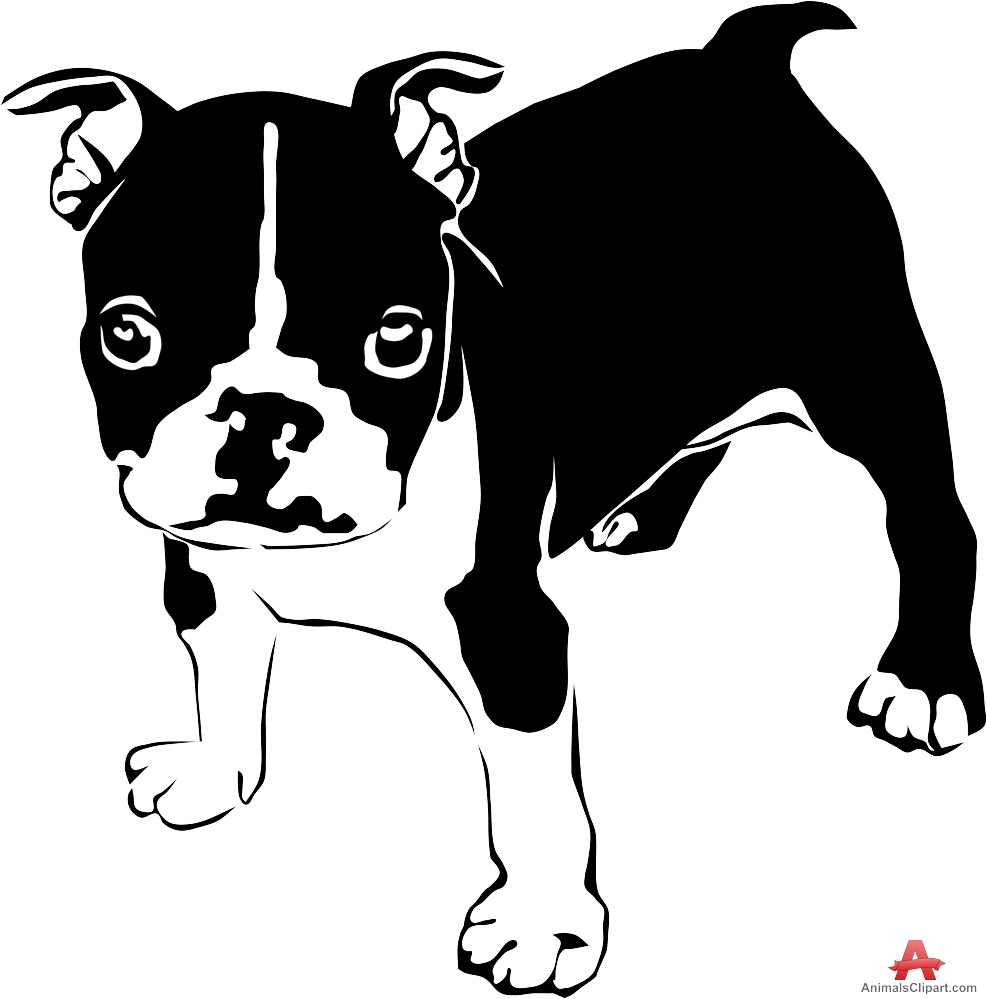Little French Bulldog Puppy Clipart.