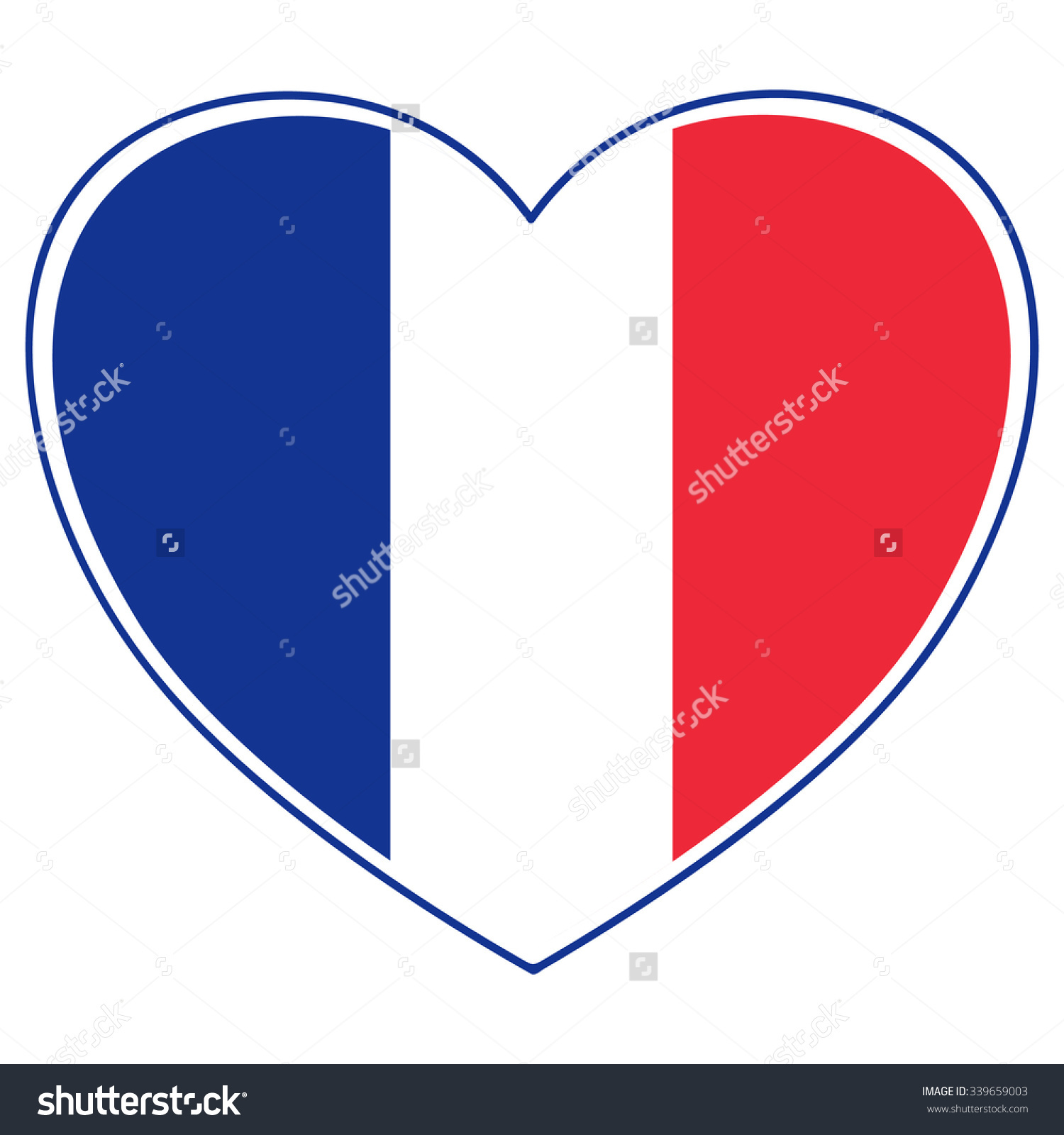 Vector Heart Shape French Flag Tricolor Stock Vector 339659003.